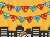 Superman Happy Birthday Banner Instant Download Superhero Happy Birthday Banner Super