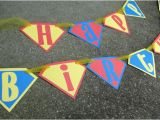 Superman Happy Birthday Banner Superman Happy Birthday Banner In Red Blue and Yellow for