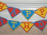 Superman Happy Birthday Banner Superman Inspired Happy Birthday Banner by Paperfectcreations