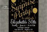 Suprise Birthday Invitations Surprise Party Invitations Printable Black Gold Surprise