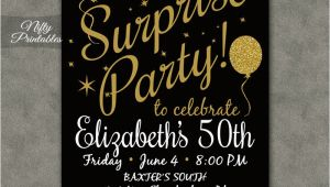 Suprise Birthday Invitations Surprise Party Invitations Printable Black Gold Surprise