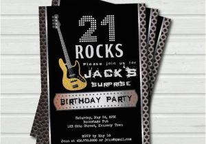Surprise 21st Birthday Invitations Surprise 21st Birthday Invitation 21 Rock and Roll Music Base