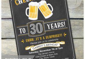 Surprise 30th Birthday Invitations For Him Invitation Cheers Beers Invite