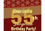 Surprise 55th Birthday Invitations 55th Surprise Birthday Party Gold orange Stars Custom