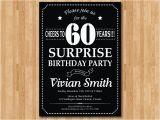 Surprise 60 Birthday Party Invitations Surprise 60th Birthday Invitation Chalkboard Birthday Party