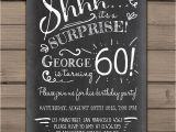 Surprise 60 Birthday Party Invitations Surprise 60th Birthday Invitation Chalkboard Invitation