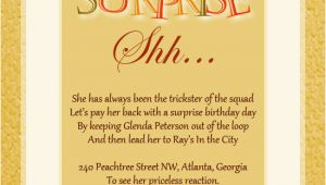 Surprise Birthday Invitation Message Surprise Birthday Party Invitation Wording Wordings and