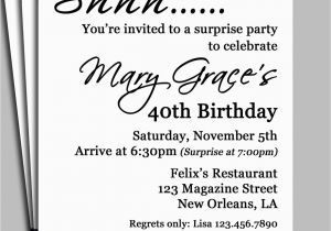 Surprise Birthday Party Invitation Wording for Adults Black Damask Surprise Party Invitation Printable or Printed