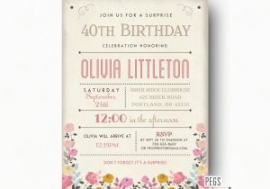 Surprise Birthday Party Invitations For Adults Adult Invites Rustic
