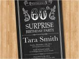 Surprise Birthday Party Invitations for Men 60th Birthday Invitation Chalkboard Surprise Birthday Men