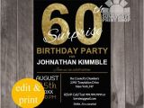 Surprise Birthday Party Invitations for Men 60th Surprise Birthday Invitation Surprise Birthday