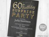Surprise Birthday Party Invitations for Men Elegant Gold Surprise 60th Birthday Invitations Party Invite