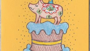 Swedish Birthday Card Swedish Pig Birthday Card Swedish Birthday Vintage Style