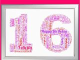 Sweet 16 Birthday Gifts for Her Personalised Birthday Gift 16 16th Sixteen Sixteenth