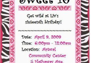 Sweet 16 Birthday Invitation Wording Invites Invitations Ideas