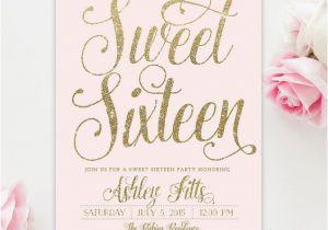 Sweet 16 Birthday Invitation Wording Blush Pink Gold Glitter Girl Sweet Sixteen 16th Birthday