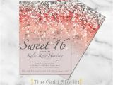 Sweet 16 Birthday Invitation Wording Sweet 16 Invitation Sweet Sixteen Coral Glitter Invite 16th