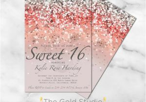 Sweet 16 Birthday Invitation Wording Sweet 16 Invitation Sweet Sixteen Coral Glitter Invite 16th