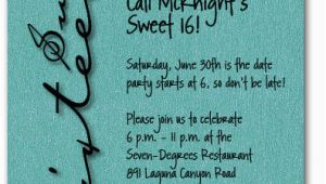 Sweet 16 Birthday Invitation Wording Sweet Sixteen Shimmery Teal Invitation 16th Birthday