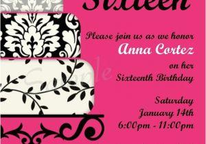 Sweet Sixteen Birthday Invitation Wording Printable Party