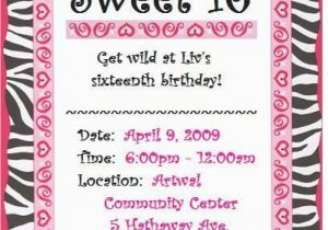 Sweet Sixteen Birthday Invitation Wording 16 Printable Orderecigsjuice Info