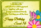 Sweet Words for Birthday Girl 16th Birthday Wishes 365greetings Com