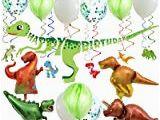 T Rex Happy Birthday Banner Amazon Com Geefuun Dinosaur Dino Happy Birthday Banner