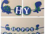 T Rex Happy Birthday Banner Blue and Green Dinosaur Happy Birthday Banner Ready to Ship