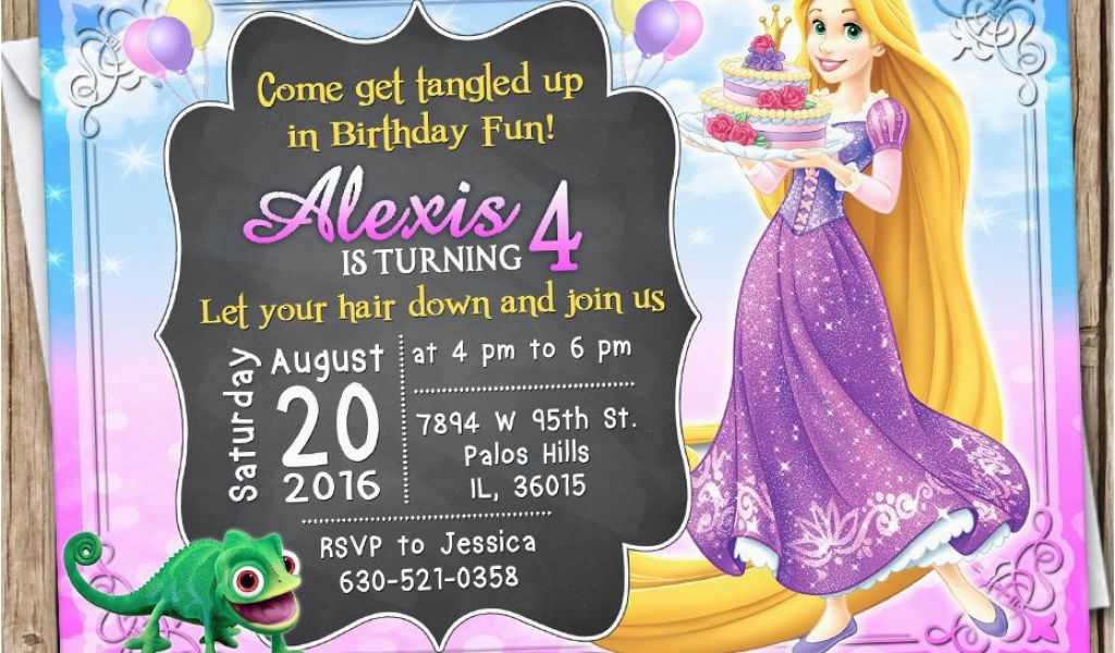 Tangled Birthday Invitations Personalized Rapunzel Invitation
