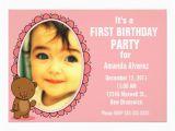 Teddy Bear Invitations for 1st Birthday 1st Birthday Invitation Teddy Bear Pink 5 Quot X 7