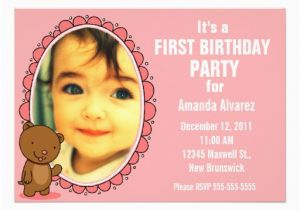 Teddy Bear Invitations for 1st Birthday 1st Birthday Invitation Teddy Bear Pink 5 Quot X 7