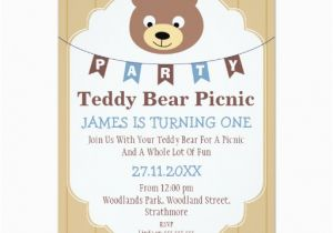 Teddy Bear Invitations for 1st Birthday Boys Teddy Bear Picnic 1st Birthday Invitation Zazzle