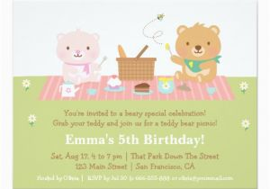 Teddy Bear Invitations for 1st Birthday Cute Teddy Bear Picnic Birthday Party Invitations Zazzle