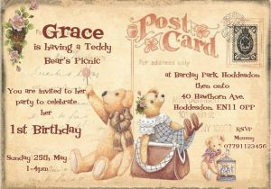 Teddy Bear Invitations for 1st Birthday Personalised Childrens 1st Birthday Teddy Bears Picnic