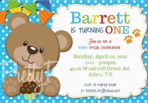 Teddy Bear Invitations for 1st Birthday Teddy Bear Invitation Birthday Shower U Print by