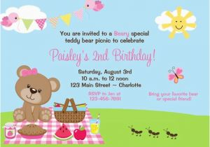 Teddy Bear Invitations for 1st Birthday Teddy Bear Picnic Birthday Party Invitation Teddy Bear