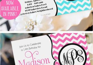 Teenage Birthday Invites Teen Girl Birthday Invitation Monogram Birthday Invitation