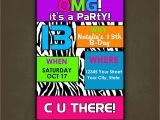 Teenage Birthday Invites Teen Tween Birthday Invitation Personalized
