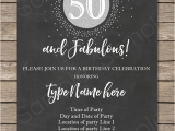 Template for 50th Birthday Invitations Free Printable Chalkboard 50th Birthday Invitation Template Silver Glitter