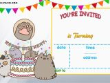 Template for Birthday Invitation Free Free Printable Pusheen Birthday Invitation Template Free