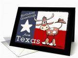 Texas Birthday Card Birthday Greetings From Texas Texas Flag and Longhorn with