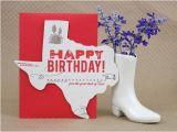 Texas Birthday Card Texas Birthday Greeting Card Letterpress