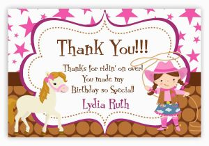 Thank You Card after Birthday Party Cowgirl Thank You Card Pink Stars Brown Polka Dot Girl