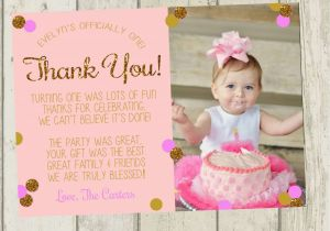 Thank You Card after Birthday Party First Birthday Thank You Card Pink Gold Glitter Thank You
