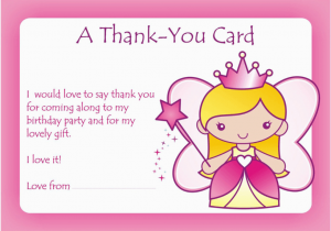 Thank You Card after Birthday Party Girls Thank You Party Cards Birthday Cards