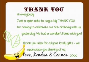 Thank You Card after Birthday Party Kandcturn5 5th Birthday Monkey Party Thank You Notes