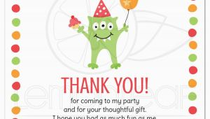 Thank You Card after Birthday Party Monster with Three Eyes Balloon and Party Hat Birthday