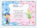 Thank You Card after Birthday Party Pirate Fairy Thank You Card Pixie Pink Blue Kids