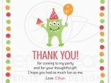 Thank You Card for Kids Birthday Monster with Three Eyes Balloon and Party Hat Birthday