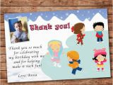 Thank You Card for Kids Birthday Personalized Any Wording Thank You Card Ice Skating Winter
